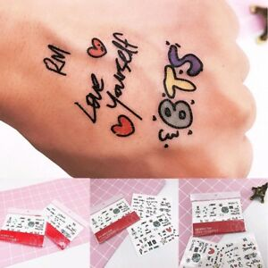 Kpop Bts Waterproof Removable Temporary Tattoo Sticker Decoration