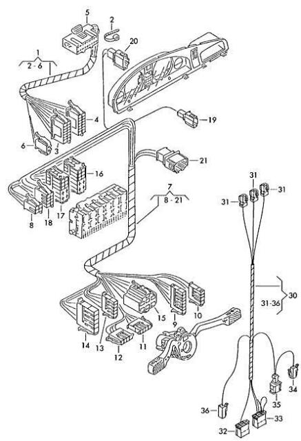 Genuine Volkswagen Tachograph Wiring Harness NOS VW