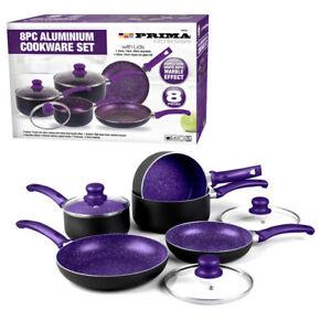 kitchen pan set bay window 8pc purple cookware non stick saucepan frying image is loading