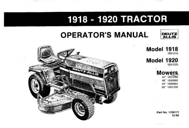 Deutz-Allis 1918 1920 Lawn Mower Operators Maintenance