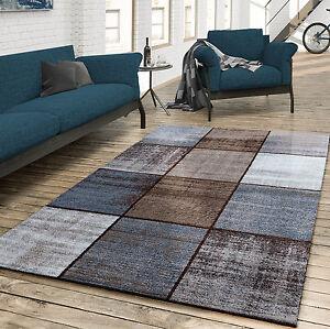 Teppich Wohnzimmer Modern Kariert Meliert Braun Grau Beige Creme  eBay