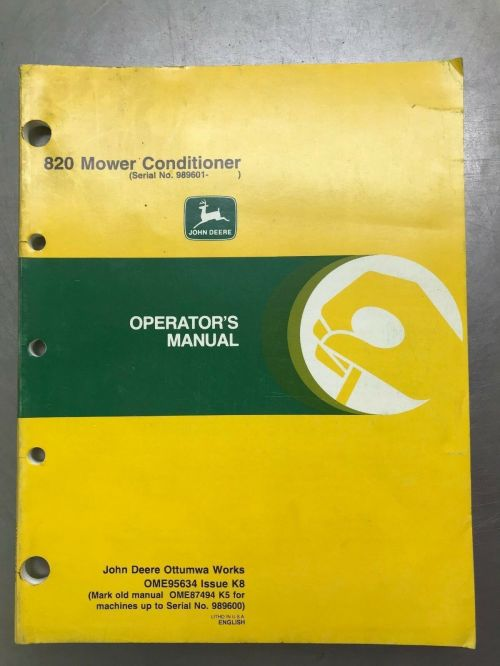 small resolution of john deere 820 mower conditioner operators manual ebay