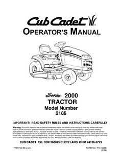 Cub Cadet 2186 Lawn Mower Operator Maintenance Instruction