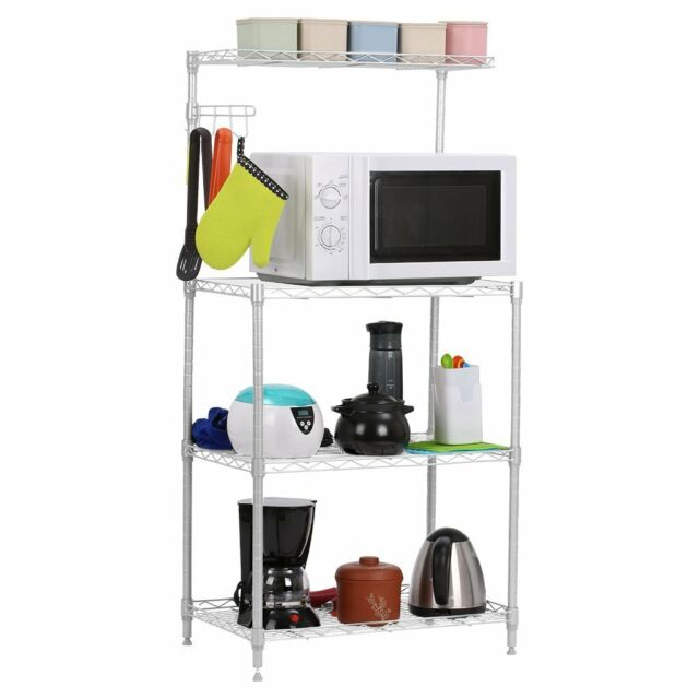 kitchen bakers rack modern accessories 4 tier microwave oven stand storage cart workstation shelf