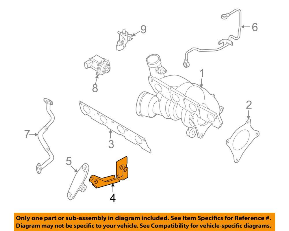 medium resolution of 2005 2008 audi a4 engine turbo exhaust manifold mount bracket oem