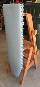 chair step stool ironing board bedroom second hand vintage heavy wood ladder image is loading