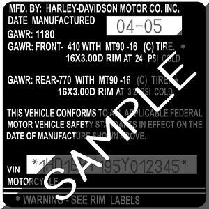 Image Is Loading Harley Davidson Frame Tag Label Decal Sticker Vin