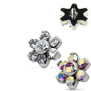 0,9mm 7er Kristall Blume Piercing Aufsatz Zirkonia Glitzer Helix Ohr Tragus