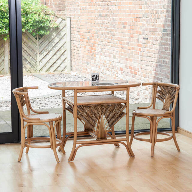 breakfast table and chairs set west elm slipper chair atlanta cane wicker dining for 2 ebay