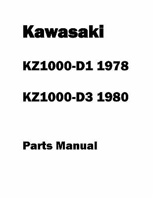 Kawasaki parts manual book 1978 KZ1000-D1 & 1980 KZ1000-D3