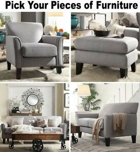 gray accent chair with ottoman desk casters for hardwood floors linen furniture set sofa loveseat grey image is loading