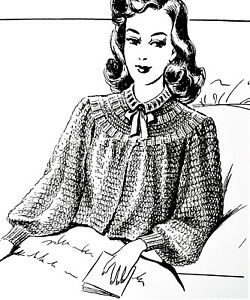 R2468 Vintage Design BEWITCHING BED JACKET Pattern to KNIT