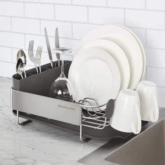 kitchenaid kns895bxgra compact dish rack stainless steel
