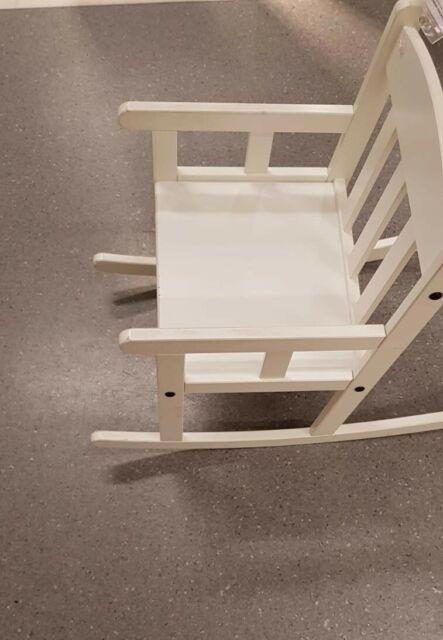 ikea enfants fauteuil a bascule en blanc bois massif wippstuhl chaise pour ovp