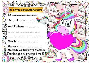 image invitation anniversaire licorne