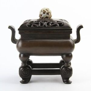 Antique Chinese Copper Incense Burner Censer & Wood Stand and Lid & Jade Top