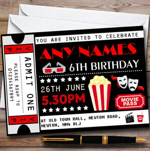 details about movie film cinema ticket personalised childrens birthday party invitations