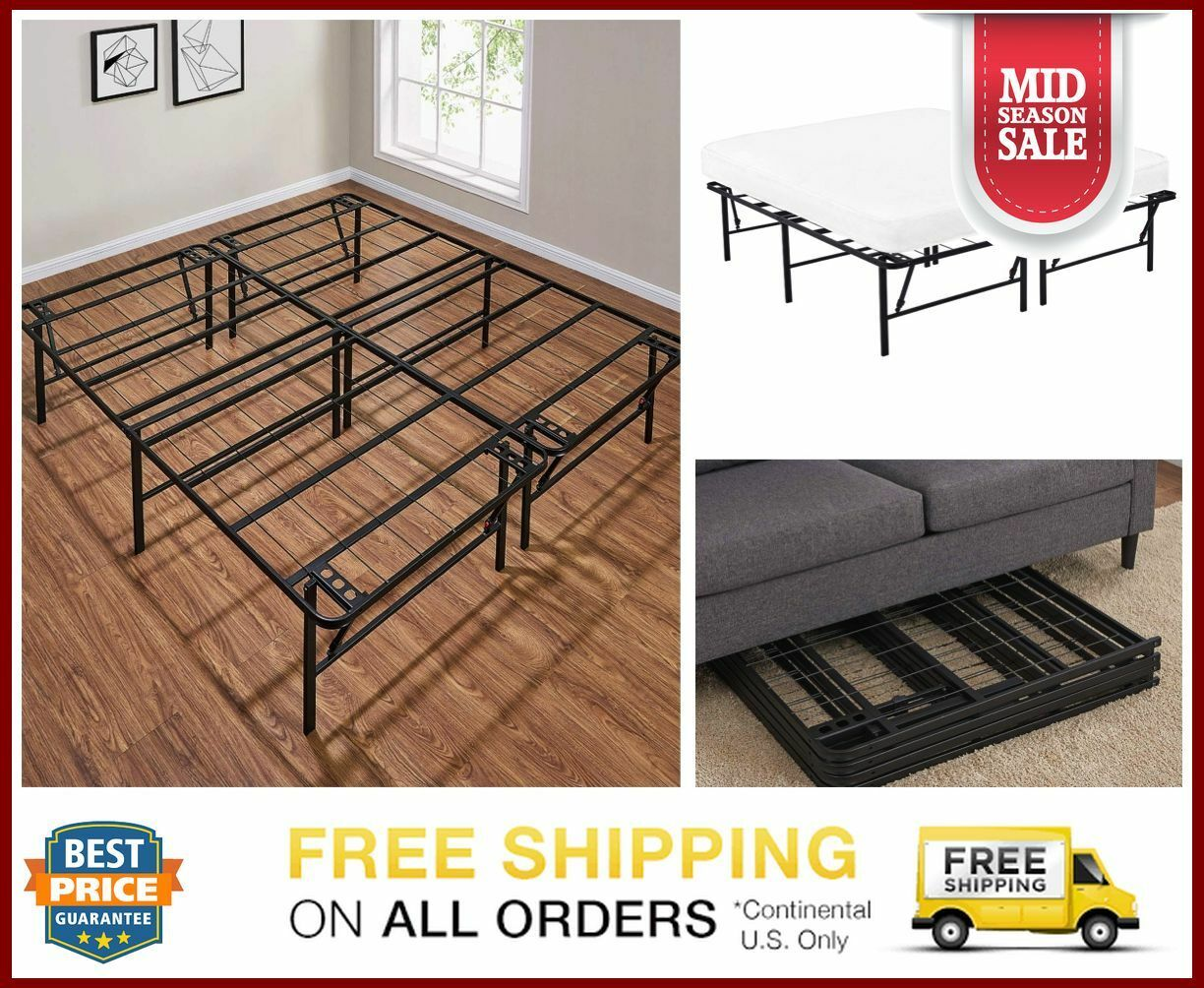 King Size Metal Platform Bed Frame Heavy Duty Mattress