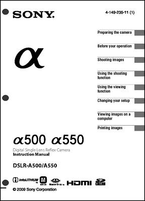 Sony DSLR Alpha A500 A550 Digital Camera User Guide