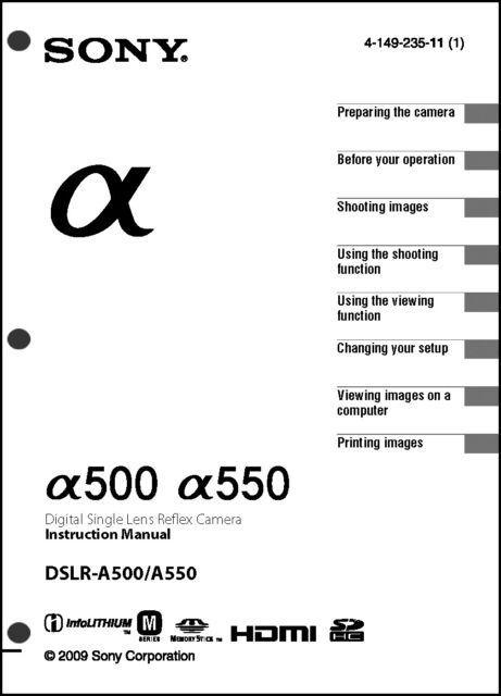 Sony DSLR Alpha A500 A550 Digital Camera User Guide