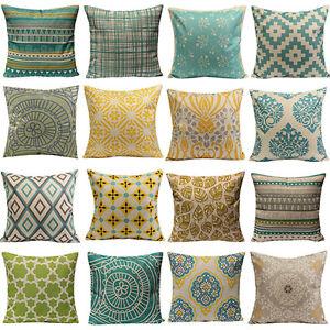 Vintage Geometric Flower Cotton Linen Throw Pillow Case
