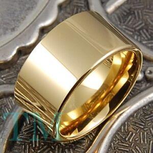 12mm Tungsten Ring 14K Gold Mens Wedding Band Pipe