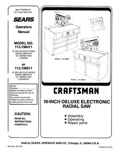 Sears Craftsman 113.198411 & 113.198611 10