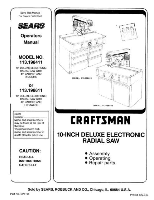 Sears Craftsman 113.198411 & 113.198611 10