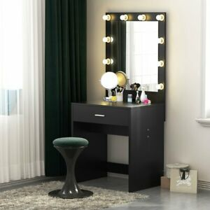 details about tribesigns vanity set with lighted mirror makeup dressing table with 10 bulbs us