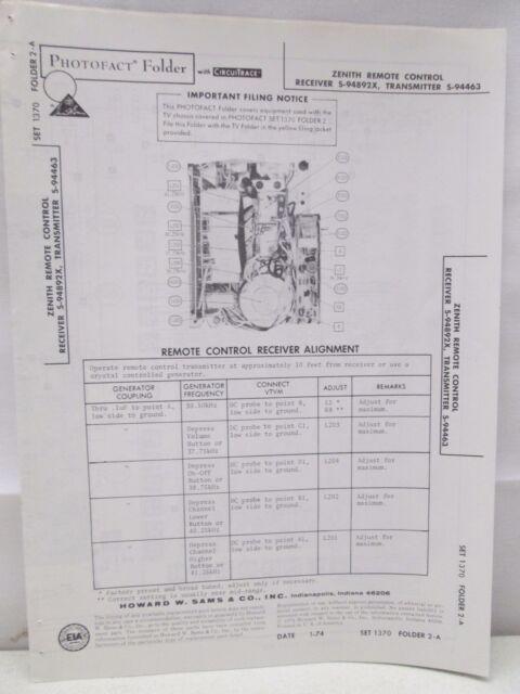Sams Photofact Folder Radio Parts Manual Zenith Remote