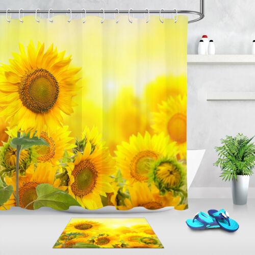 waterproof fabric shower curtain hooks bathroom mat sunflower home decor garden curtains uniforce shower curtains