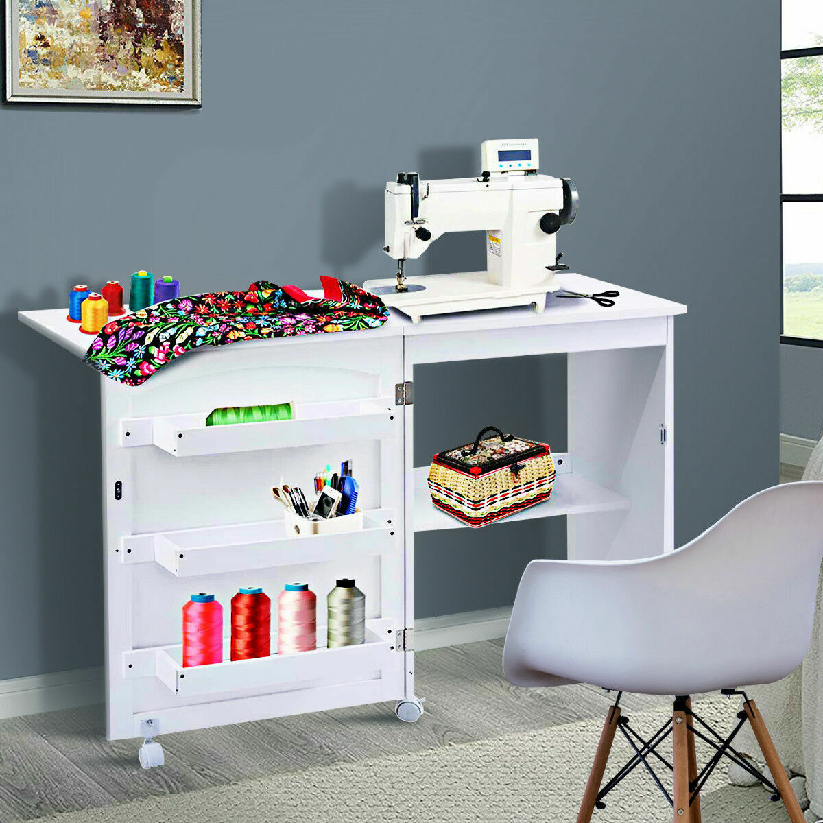 Best Craft Table Cabinet Armoire Storage Furniture Folding Sewing White Desk For Sale Online Ebay