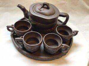 Vintage Chinese Yixing Zisha 7 Piece teapot set, Signed