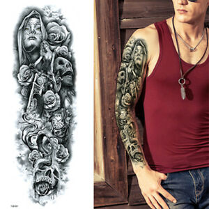 Tribal Angels Roses Skulls Black Long Full Arm Temporary Tattoo