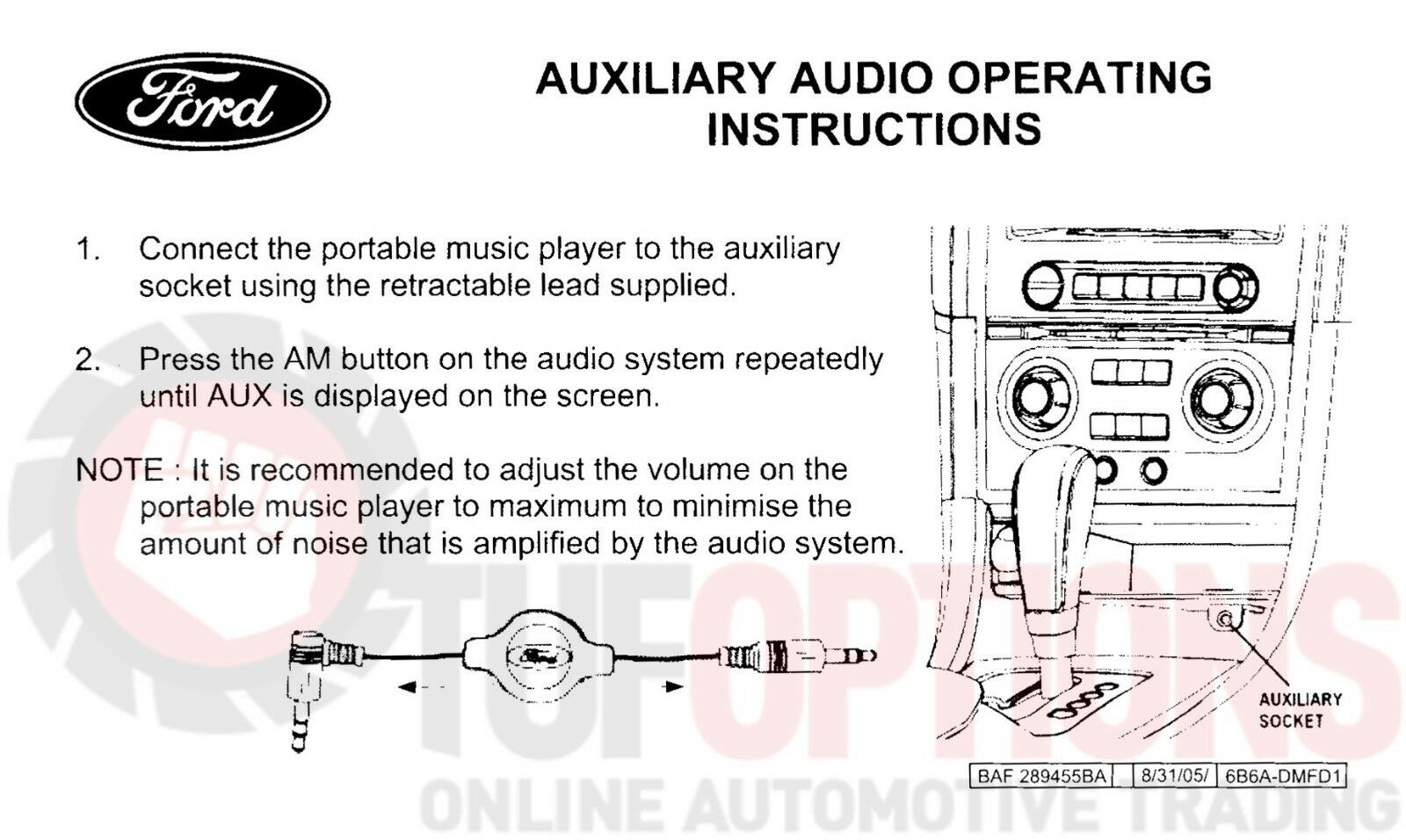 hight resolution of genuine ford ba bf falcon sx sy territory mp3 ipod audio input kit baf289455ba for sale online ebay