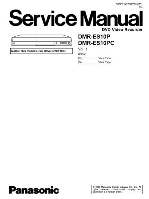 Panasonic Dmr-es10 Es10p Es10pc DVD Recorder Service