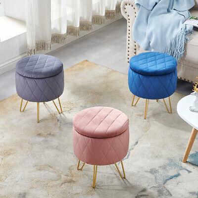 modern ottoman storage footstool with lid round velvet stools seat vanity chair ebay