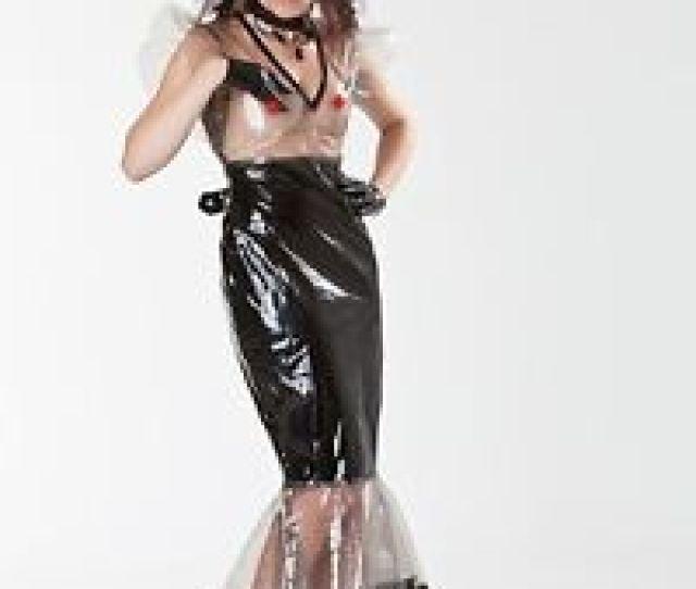 Image Is Loading Lackina Long Lacquer Pvc Fetish Dress Black Sz