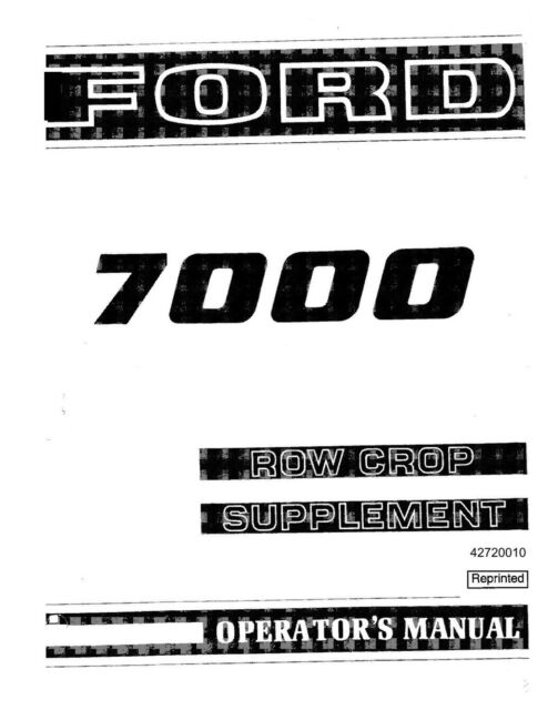 NEW HOLLAND Ford 7000 Row Crop Supplement SE 3363 TRACTOR