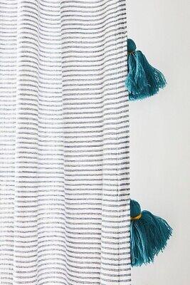 new anthropologie mindra curtain panels gray stripe tassel 50x108 one panel ebay