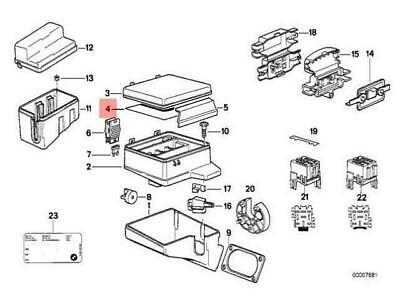 OEM BMW 5 E34 STICKER STICK ON ENGLISH LABEL IN FUSE BOX