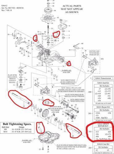 Genuine OEM Tuff Torq Axle Shaft Repair Kit for K46