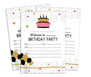 details about birthday invitation card printable elegant blank party invites 28 pcs ds in69a