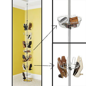 details about revolving shoe tree floor to ceiling foot wear spinner mudroom rack storage new