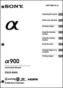 Sony DSLR Alpha A900 Digital Camera User Guide Instruction