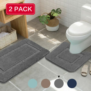 2x Bath Mat Set Thick Soft Bath Rugs Velvet Fulffy Non Slip Bathroom Mats 2 Pack Ebay