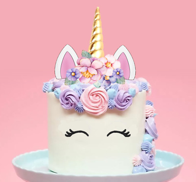 XL Unicorn Gold Horn Pink Flowers Edible Wafer Cake Topper ...