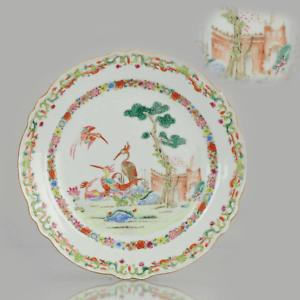 18C Antique Chinese Plate Qing Chine de Commande Famille Rose BIRDS CITY...