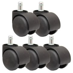 Desk Chair Casters With Large Keyboard Tray 5 Black Replacement Castor Wheels Computer Office Caster 50mm New 11mm