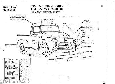 1955 56 Dodge C-3 1/2 Ton Pickup NOS Body Panel Exterior